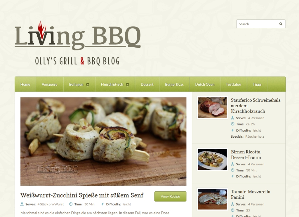 Screenshot Living BBQ - Olly´s Grill & BBQ Blog