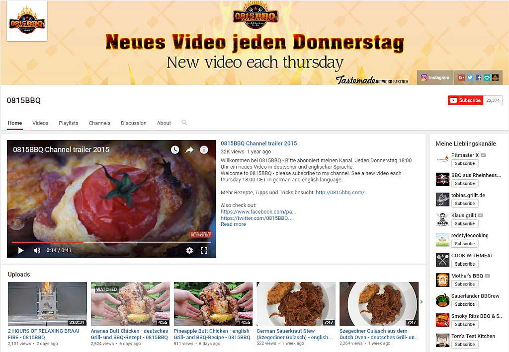 Screenshot YouTube Channel von 0815bbq.com - Blog des Monats - GasProfi24-Blog - 2